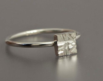Rough Cut Geometry Square Stacking Ring in Sterling Silver