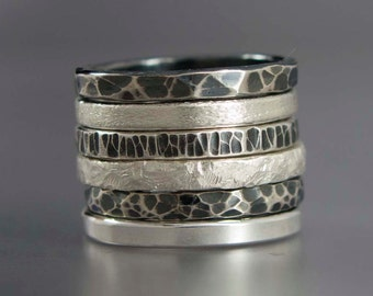 Sterling Silver Stacking Ring, Textured 2mm Wide Band - Pick any one ring