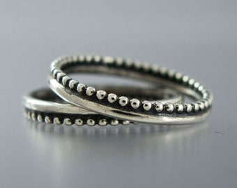 Crown Ring in Sterling Silver - thin silver wedding band