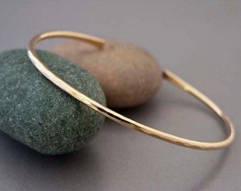 Hammered Gold Cuff - Solid 14k Gold Bracelet