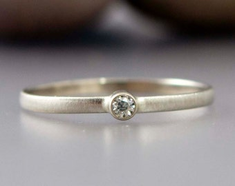 White Gold Diamond Ring - Thin Engagement Ring with a tiny 2mm Diamond in solid 14k white or yellow gold