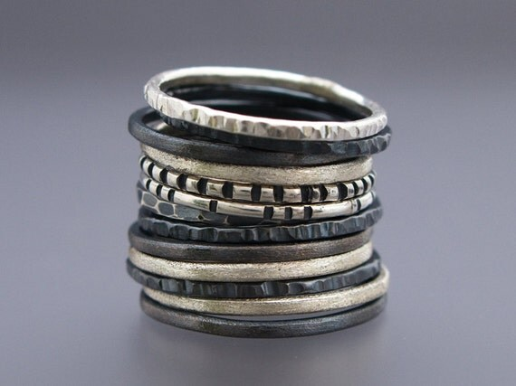 Skinny Stacking Ring Set in Sterling Silver - Pick any 3 rings