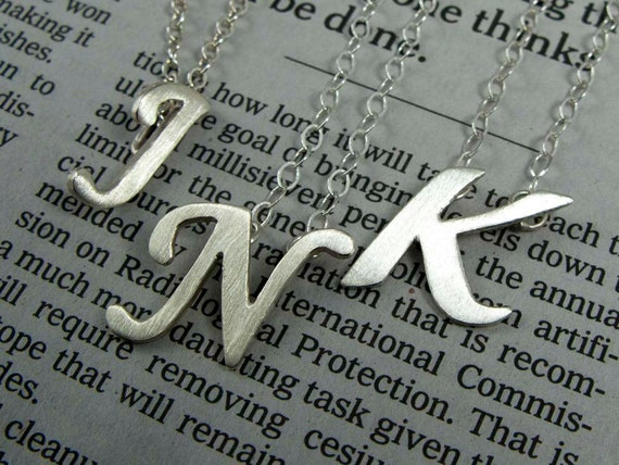 Sterling Silver Monogram Initial Necklace - Hand Cut in Any Letter or Font