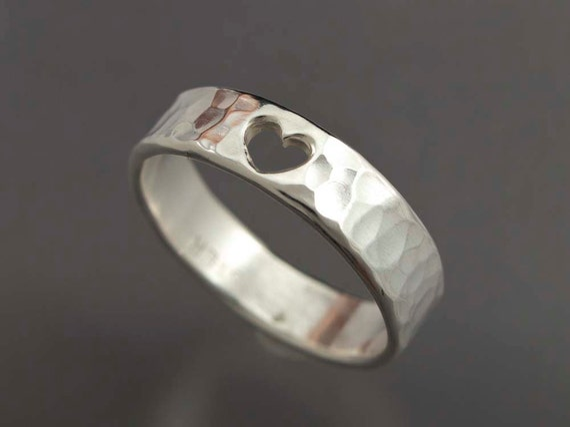 Hammered Heart Band - Sterling Silver Sentiment or Primise Ring