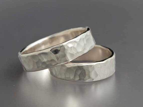 Simple Hammered Sterling Silver Wedding Bands - Set of Two 5mm Wide Rings