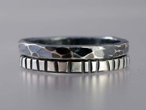 Animal Print Silver Stacking Rings - Safari Set of Two 2mm Wide Bands - Zebra and Giraffe Pattern