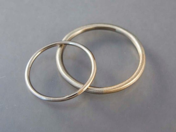 Married 14k Yellow and White Gold Wedding Band Set - Two Tone Wedding Rings in a mix of white yellow or rose gold