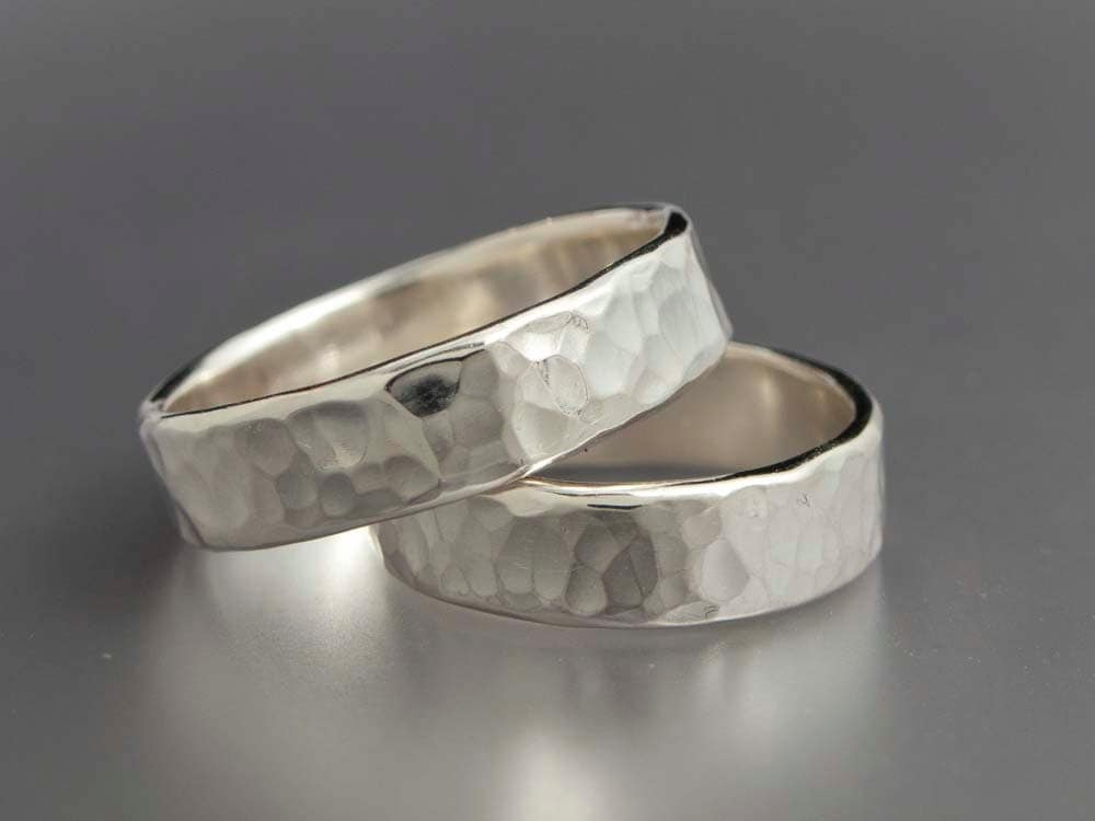Simple hammered sterling silver wedding bands set of two 5mm for Wedding rings and bands
