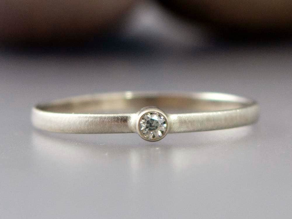 White gold diamond ring thin engagement ring with a tiny 2mm for Tiny wedding ring