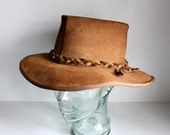 vintage boho leather suede hat  // L // California beach style