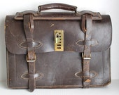 vintage 40s/50s distressed leather attache' // three pocket briefcase // key and lock