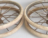 """vintage set of four spoked wheels with white rubber  // 29"""" circumference // wagon - baby buggy"""