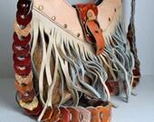 vintage 70s fringe cross-body leather bag // groovy design