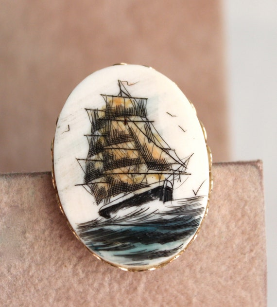 vintage scrimshaw ship pin in color // nautical