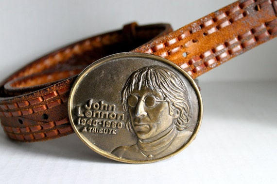 vintage 80s JOHN LENNON memorial belt buckle on a brown belt // 36