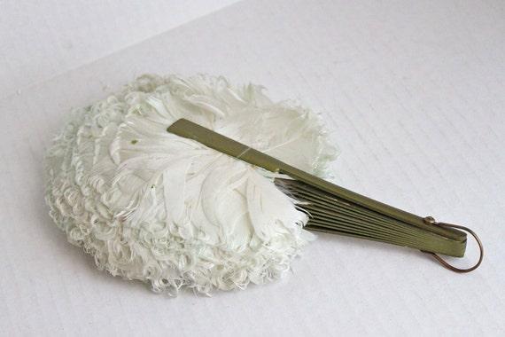 vintage folding feather fan // white w/ a blue-green hue