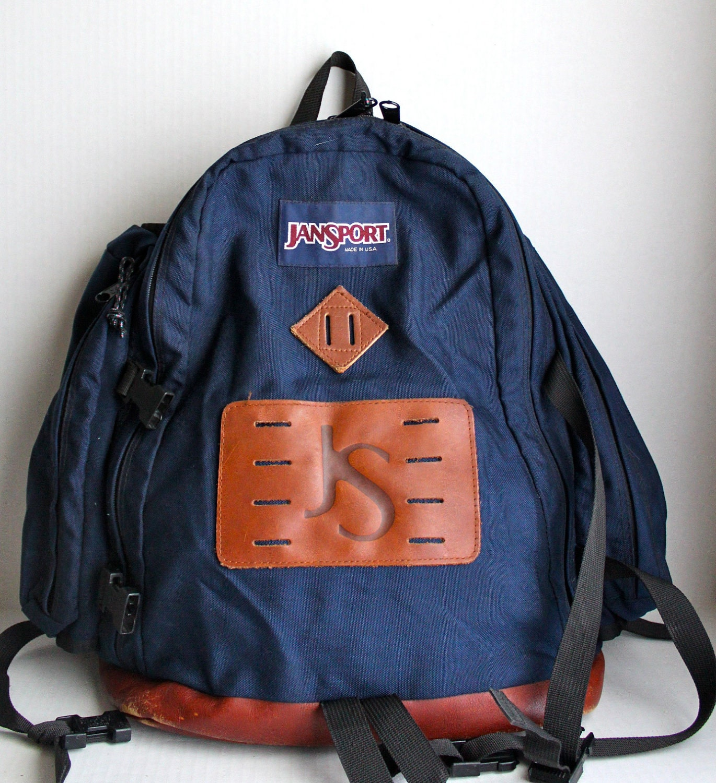 vintage Jansport xl canvas backpack // leather bottom day pack