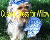Dog Dress and Matching Bonnet- Custom Order for Willow