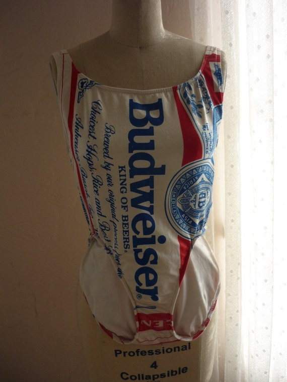Vintage 80s Budweiser Bathing Suit-french cut one piece