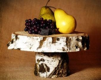 White Birch Rustic Wood Cake Stand 12 inch diameter