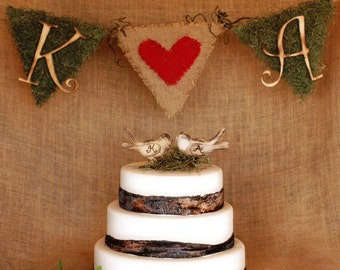 Rustic Wedding Party Banner Personalized with burlap, moss, and initials