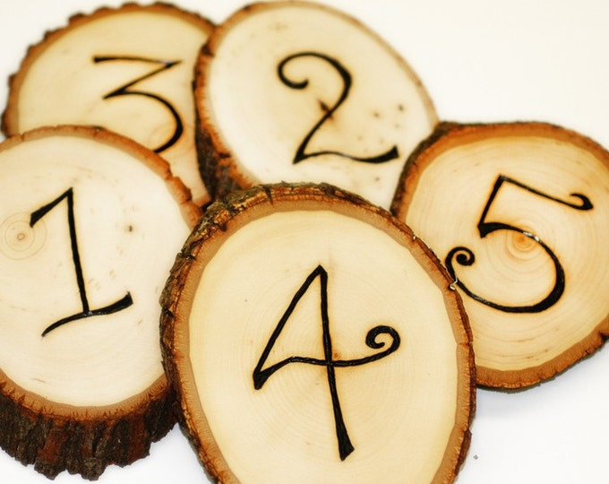 Tree Slice Table Numbers - Any quantity available in any font