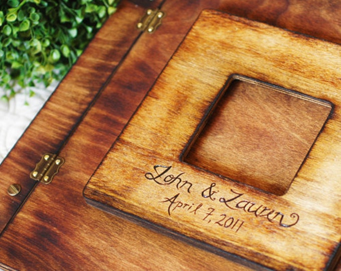 Rustic Wedding Album or Guest Book with Personalized burned engraving