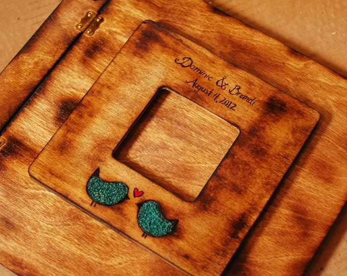 Rustic Wedding Album or Guest Book with Personalized burned engraving and love birds