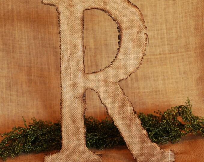 Burlap Monogram Letter