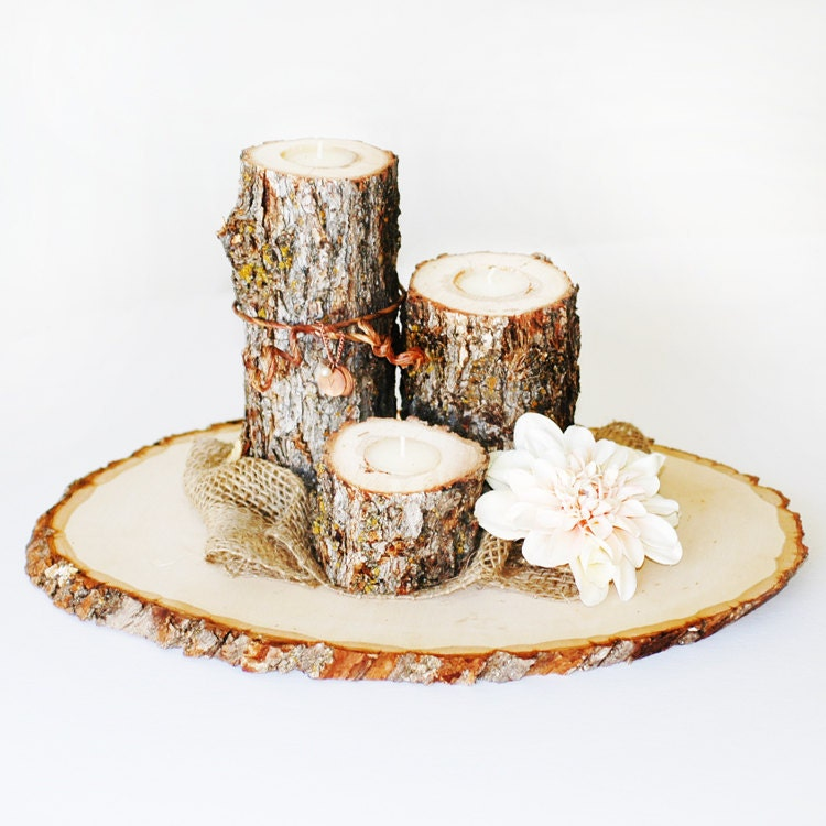 Extra large rustic wood tree slice centerpieces trivets hot