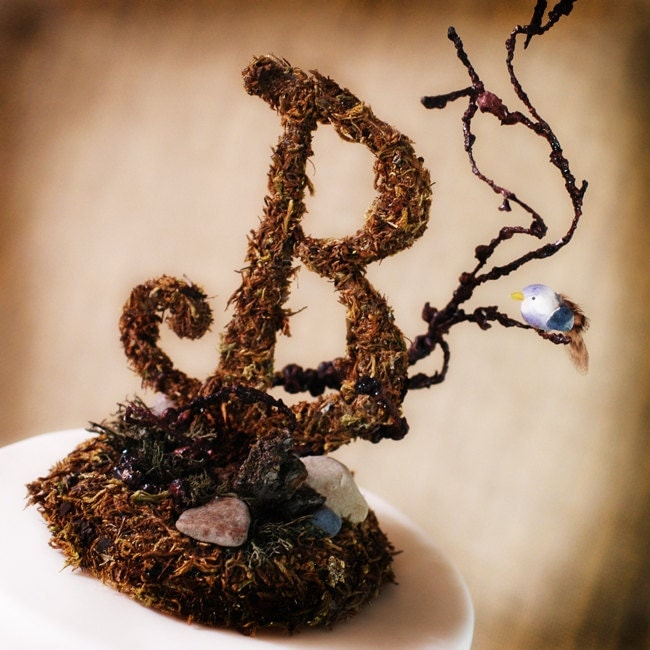 Rustic Wooden Monogram Cake Topper Woodsy Woodland Rustic Mossy Theme