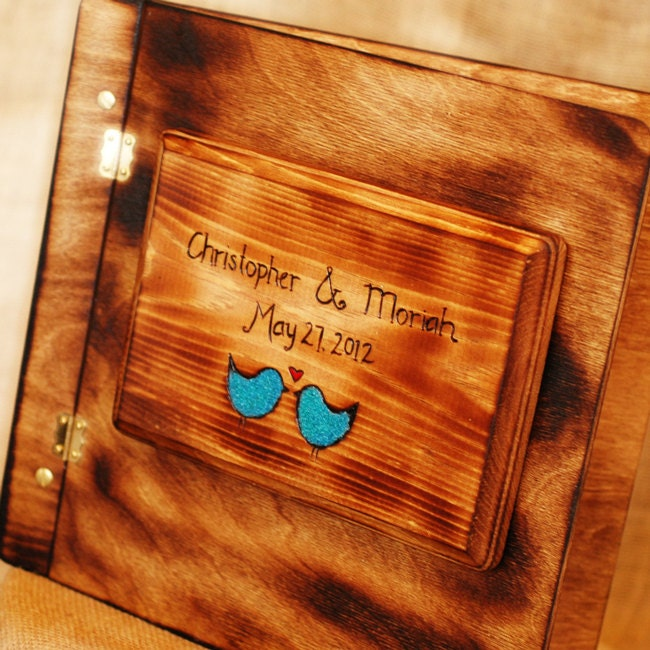 Rustic Wedding Album Or Guest Book With Personalized Burned Engraving And Love Bird Inlay Image