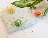 Large Handmade Green Yellow Orange Spider Perfect Gift for Entomologist and Bug Lover