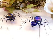 Two Royal Blue Spiders Wire Art Bugs Gift for Entomologists Bug Lovers Birthday Gift Arachnids, Realistic Trendy Sweet Unique Spiders 3 Inch