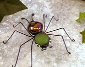 Purple and Green Handmade Spider Ornament Copper and Glass