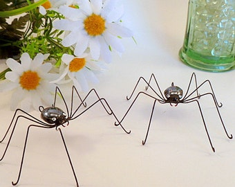 Two Large Black Spiders Surefoot Spider Ornaments Wire Art Spiders Gift for Nature Lovers Kitchen Art Gift of Nature Arachnid