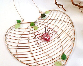 Heart Shaped Handmade Spider Web and Red Spider Perfect Gift for Entomologists and Bug Lovers