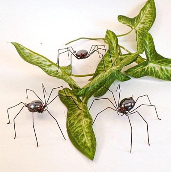 Handmade Large Black Spiders Three Hanging