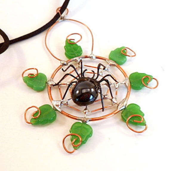 Copper Wire Spider Web and Leaves Pendant OOAK Small Black Wire Spider window Decor Wall Hanging Gift for Bug Lovers