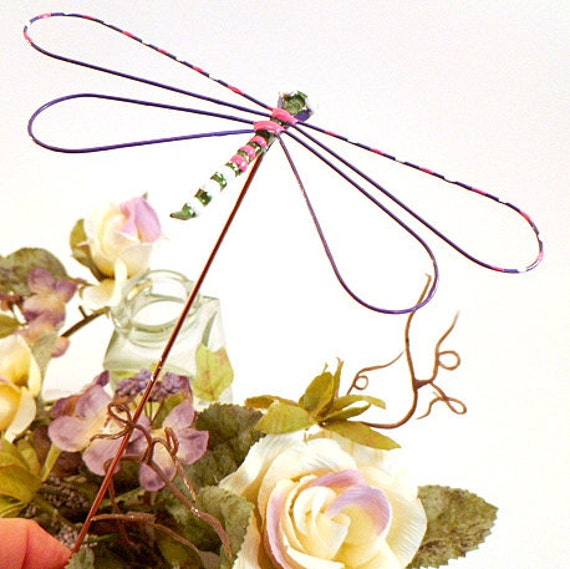 Pair Dragonfly Garden Stakes Handmade