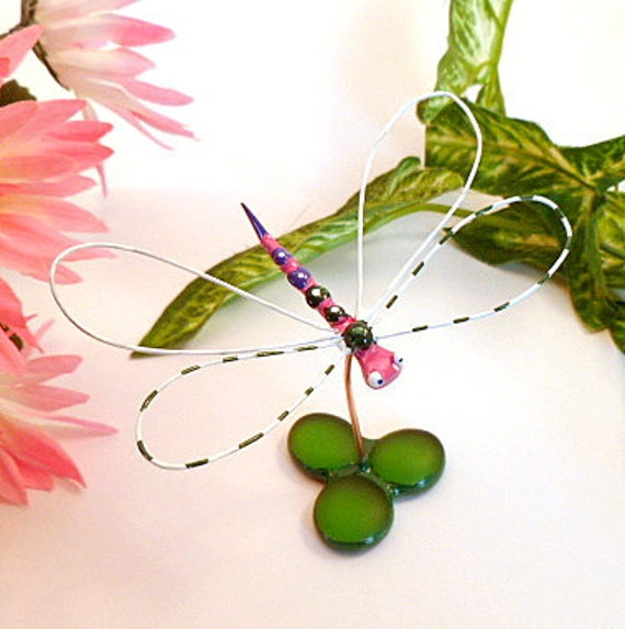 Small Handmade Dragonfly in Pink and White Perfect Gift for Entomologists and Bug Lovers
