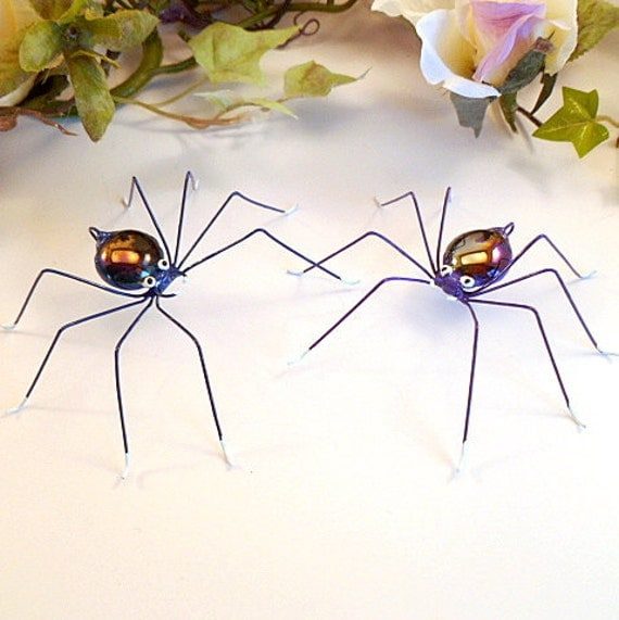 A Blue Spider and A Purple Spider Hanging