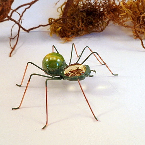 Three Green Spiders Wire Art Insects Cute 3 Inch Bugs Kwirky Pet Spiders For Teens Birthday Gift Gardener Bug Lover