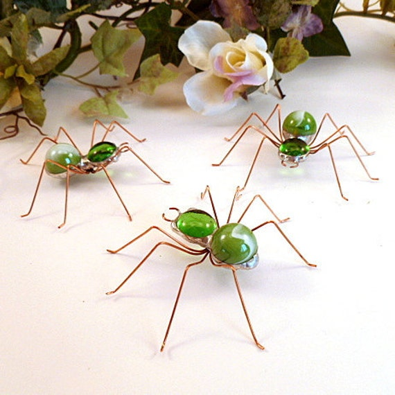 Green Spiders Three Small Handmade Perfect Gift for Entomologists and Bug Lovers