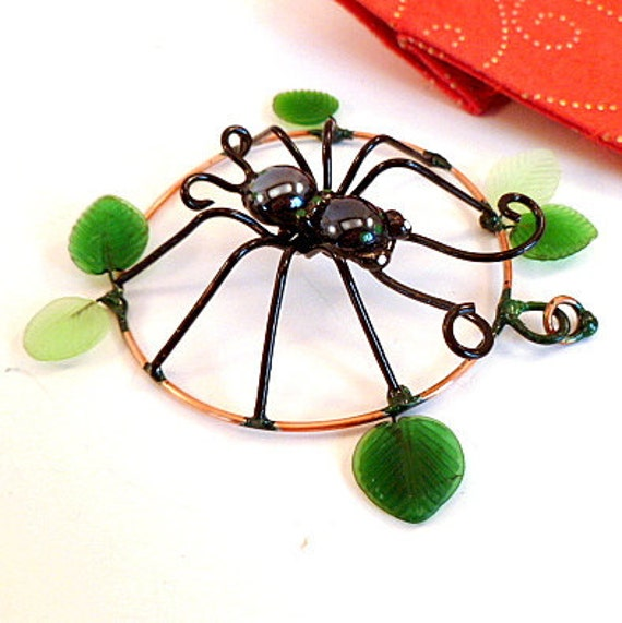 Round Black Spider Pendant With Leaves Copper Wire Art Sun Catcher or Wall Hanging Gift for Spider Lovers Medium Painted Wire Art Bug
