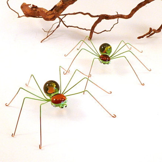 Four Handmade Medium Spiders Autumn Colors Perfect Gift for Nature and Bug Lovers, Home Decor Spider Ornaments for Window Sills or Table