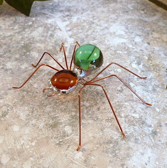 Handmade Five Small Brown and Green Spiders