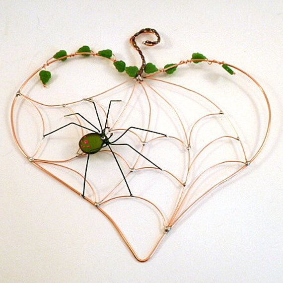 Handmade Heart Spider Web and Green Spider Sun Catcher
