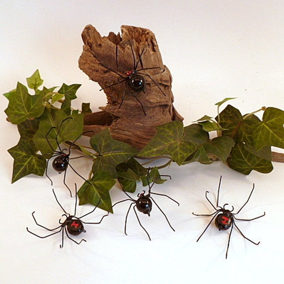 Small Black Widow Spiders Handmade Five Hanging Perfect Gift for Entomologists and Bug Lovers