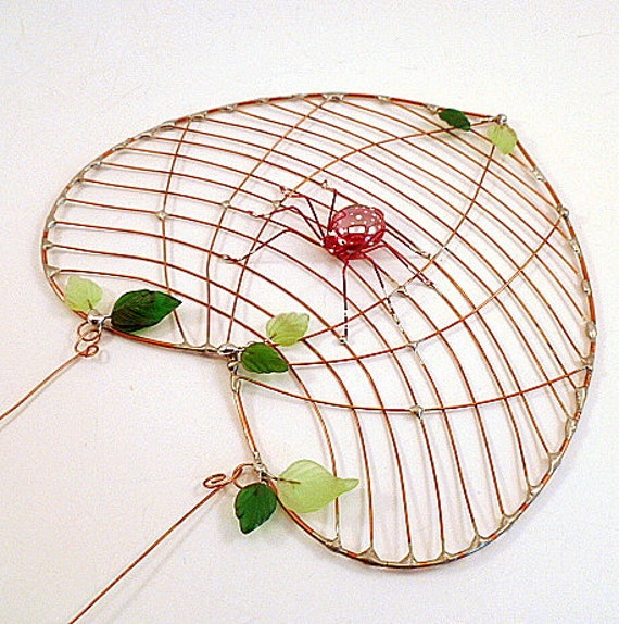 Heart Shaped Spider Web and Spider Unique One of a Kind Window Art Wall Hanging Sun Catcher Copper Wire Spider Web Red Wire Spider Arachnid